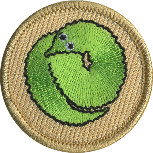 Green Fuzzy Worm Patrol Patch - embroidered 2 inch round