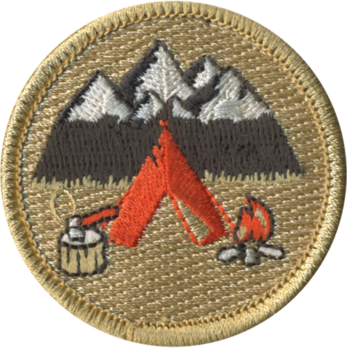 Camping Mountain Scenery Patrol Patch - embroidered 2 inch round