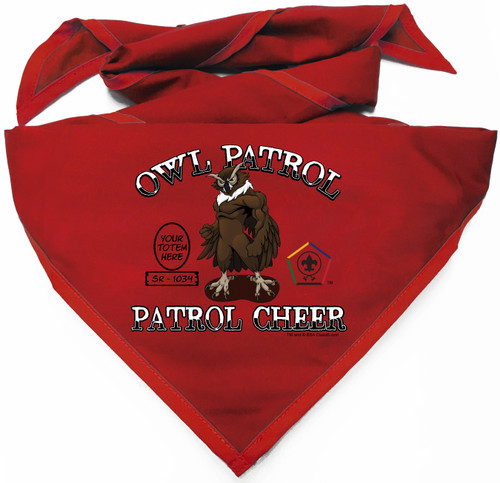 Custom Digitally Printed Owl Wood Badge Patrol Neckerchief (SP4991)