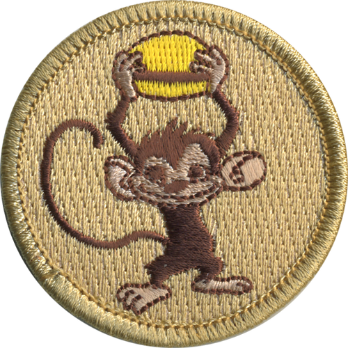 Burger Monkey Patrol Patch - embroidered 2 inch round