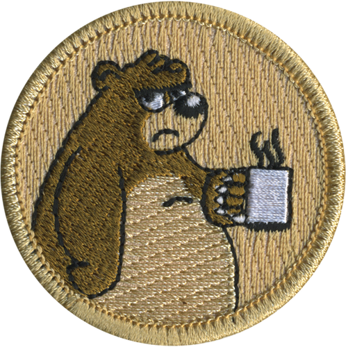 Grumpy Bear with Coffee Cup Patrol Patch - embroidered 2 inch round