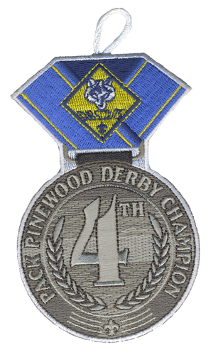 Pinewood Derby Medal Patch with Cub Scout Logo and Button Loop. 4th place