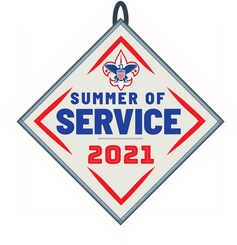 Summer of Service Patch with BSA Logo and Button Loop. Summer of Service Participation Patch