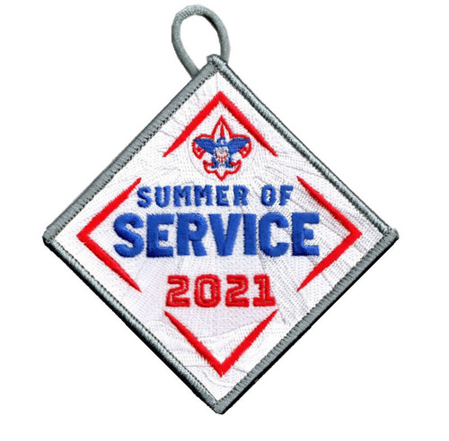 Summer of Service Patch with BSA Logo and Button Loop. Summer of Service Participation Patch - Ghosted White
