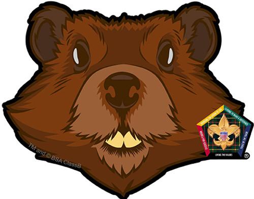 Wood Badge Sticker of Wood Badge Beaver with Wood Badge Logo
