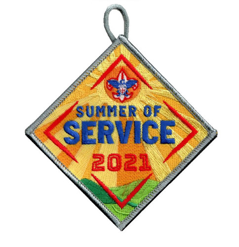Summer of Service Patch with BSA Logo and Button Loop. Summer of Service Participation Patch - Color with sunrise