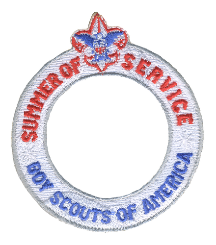 Summer of Service Ring Patch with BSA Logo and Button Loop. Summer of Service Participation Patch - Ghosted White