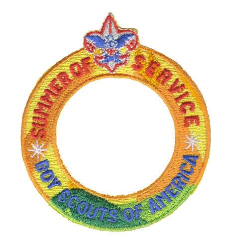 Summer of Service Ring Patch with BSA Logo and Button Loop. Summer of Service Participation Patch - Color