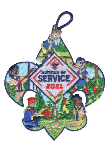 Summer of Service Activity Patch with BSA Logo and Button Loop. Summer of Service Participation Patch.