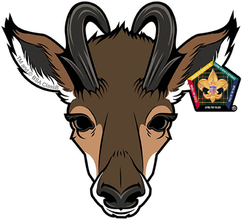 Old Logo Wood Badge Antelope Car Window Sticker (SP5390)