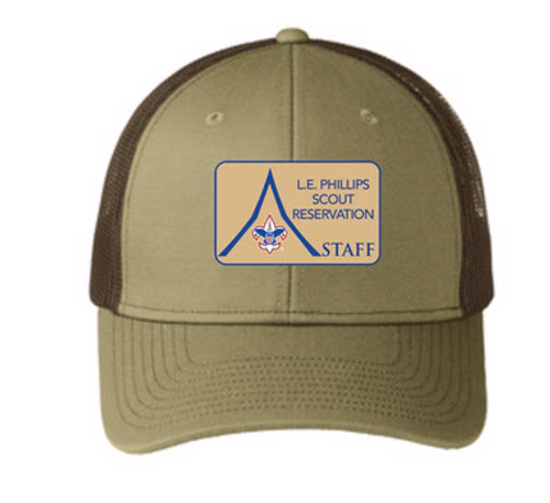 (1) Camp Supplied Snapback Trucker Cap - L.E. Phillips Scout Reservation Staff 2021