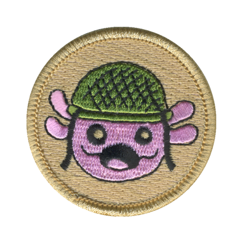 Axolotl Army Patch - embroidered 2 inch round