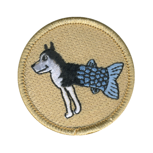 Husky Muskie Patch - embroidered 2 inch round