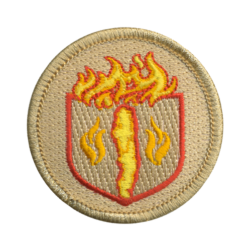 Flaming Hot Chip Shield Patch - embroidered 2 inch round