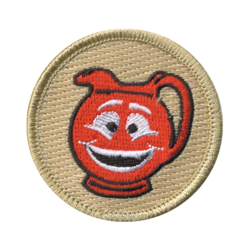 Happy Red Punch Patch - embroidered 2 inch round