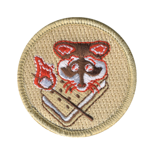 Camping Raccoon Patch - embroidered 2 inch round