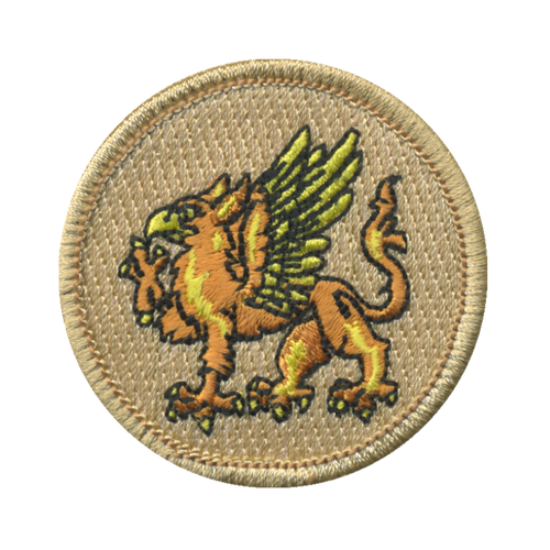 Orange Griffin Patch - embroidered 2 inch round