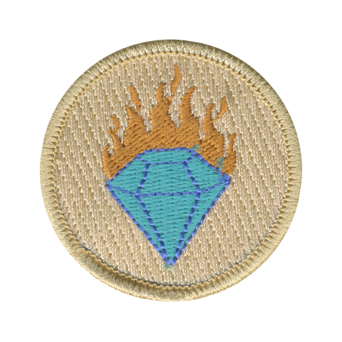 Flaming Diamond Patch - embroidered 2 inch round
