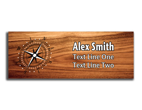 Compass Rose on Scout name tag. Compass image on Black and White ink on Cherry Wood