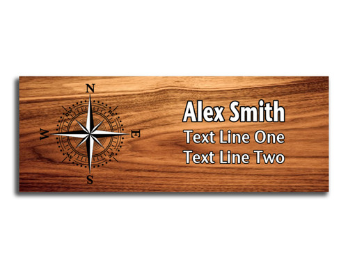 Compass Rose on Scout name tag. Compass image in Black and White ink on Cherry Wood