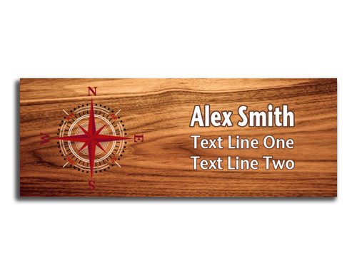 Compass Rose on Scout name tag. Compass image in Red and White ink on Cherry Wood