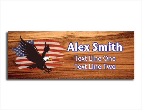 Eagle Name Tag - Eagle with distressed flag background on Cherry Wood