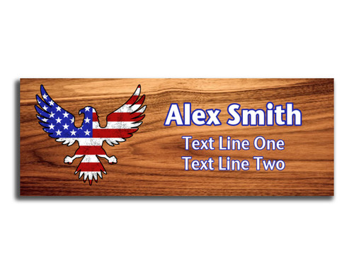 Eagle and Flag Name Tag - Distressed Eagle and Flag Silhouette on Cherry Wood