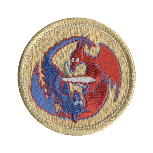 Dueling Dragons Patch - embroidered 2 inch round