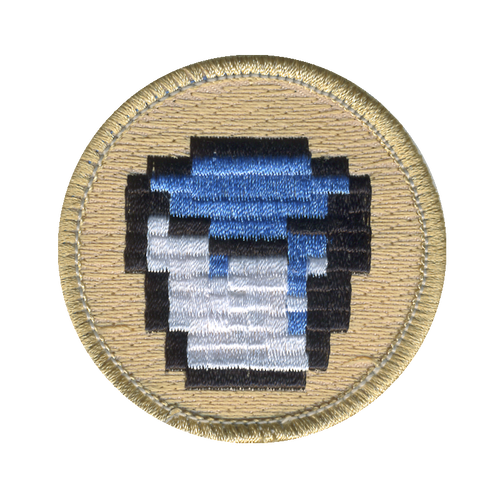 Pixel Water Bucket Patch - embroidered 2 inch round