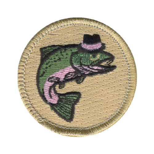Fancy Fish Patch - embroidered 2 inch round