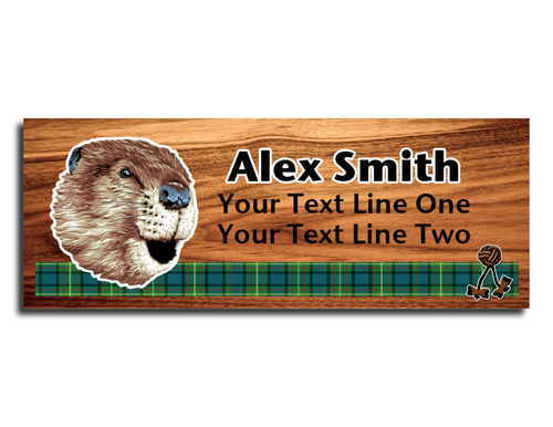 Wood Badge Name Tag with Wood Badge Realistic Beaver Critter on strip of Tartan design with Wood Badge Beads