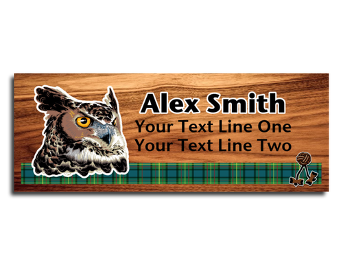 Wood Badge Name Tag with Wood Badge Realistic Owl Critter on strip of Tartan design with Wood Badge Beads