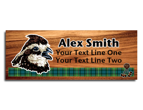 Wood Badge Name Tag with Wood Badge Realistic Bobwhite Critter on strip of Tartan design with Wood Badge Beads
