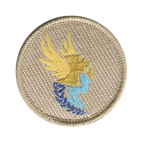 Golden Valkyrie Head Patch - embroidered 2 inch round