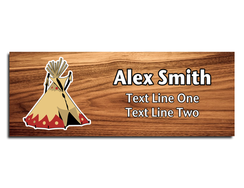 Scouts BSA Troop Name Tag - Native American Tipi design on Cherry Wood