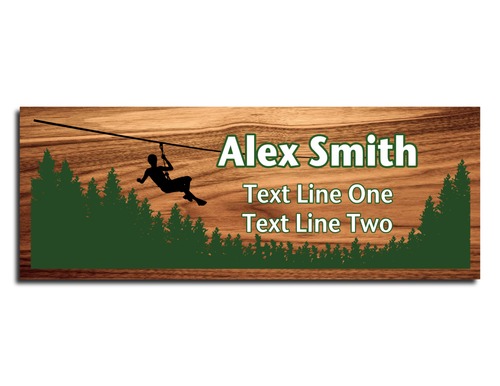 Scouts BSA Troop Name Tag - Zipline design with forest view on Cherry Wood