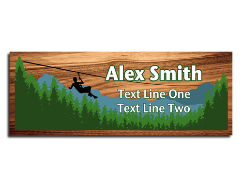 Scouts BSA Troop Name Tag - Zipline design with forest and mountain view on Cherry Wood