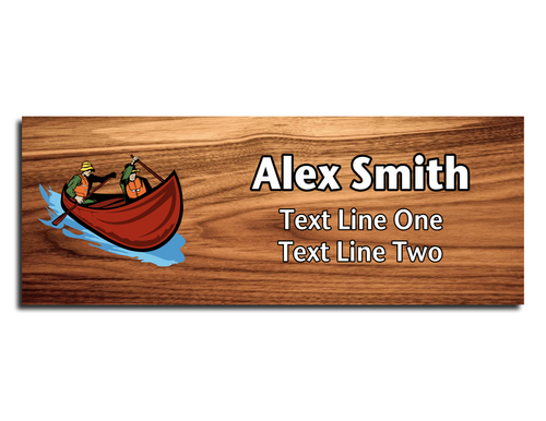 Scouts BSA Troop Name Tag - Tandem Canoe with Two People on Cherry Wood