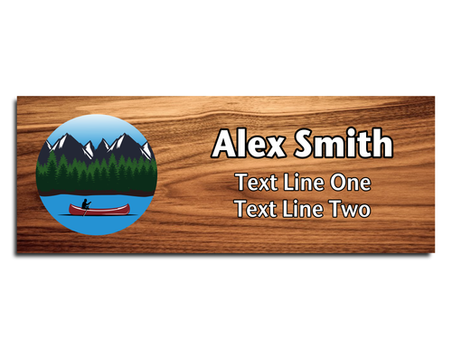 Scouts BSA Troop Name Tag - Circle design with person on Canoe on a Lake with Forest and Mountain Scene on Cherry Wood