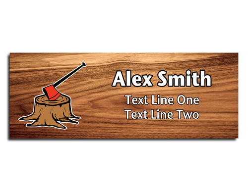 Wood Badge Name Tag - Wood Badge Axe with Red Axe on Cherry Wood