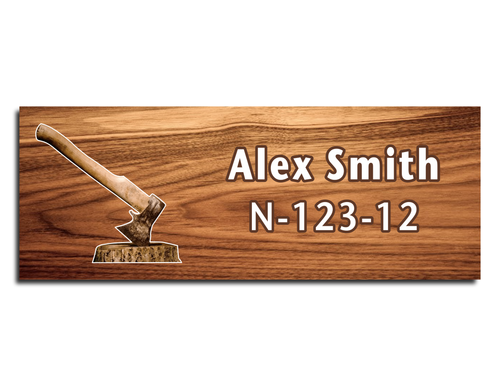 Wood Badge Name Tag - Wood Badge Axe with Brown Wood Axe on Cherry Wood
