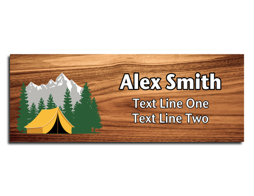 Scouts BSA Troop Name Tag - Mountain with Yellow Camping Tent on Cherry Wood