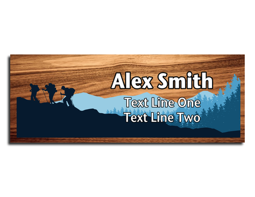Scouts BSA Troop Name Tag - Hiking on a Mountain on Cherry Wood