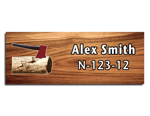Wood Badge Name Tag - Wood Badge Axe with Deep Red Axe on Cherry Wood
