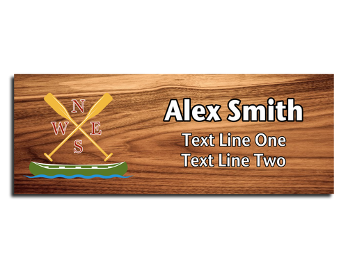 Canoe Name Tag - Green Canoe with Yellow Paddles with Cardinal Directions on Cherry Wood