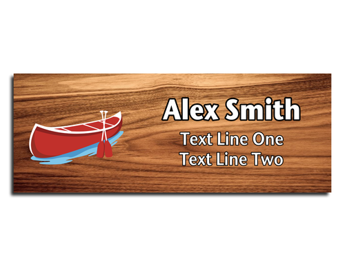 Canoe Name Tag - Red Canoe on Cherry Wood