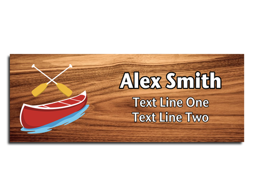 Canoe Name Tag - Red Canoe with Yellow Paddles on Cherry Wood