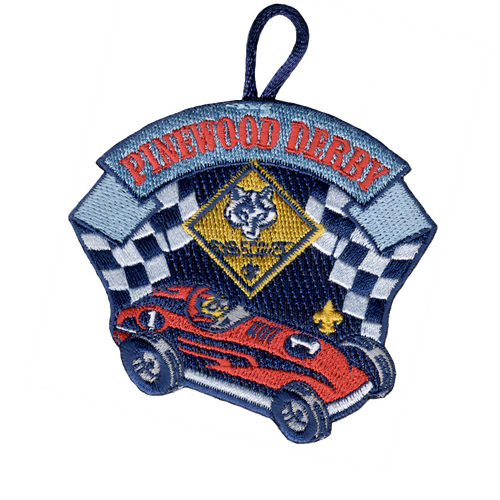 Pinewood Derby Race Car Patch with Cub Scout Logo