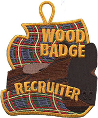 Wood Badge Patch with Wood Badge Recruiter on Wood Badge Tartan Background