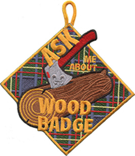 Wood Badge Patch with Ask Me About Wood Badge on Wood Badge Tartan Background